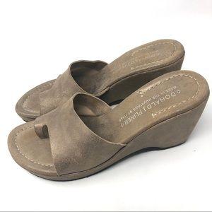 Donald J Pliner Leather Wedge Slides Sandals